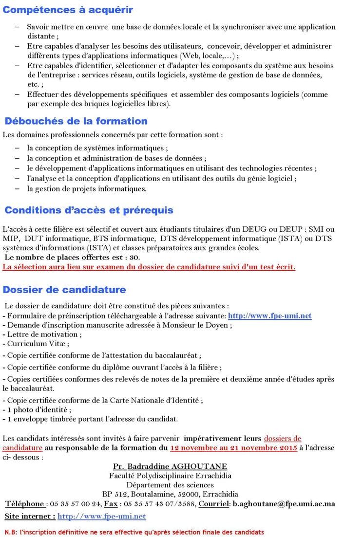 facult u00e9 polydisciplinaire errachidia lp licence
