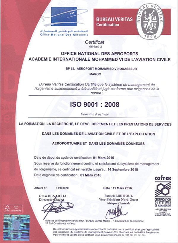 AIAC Mohammed VI certifié ISO 9001 -2016