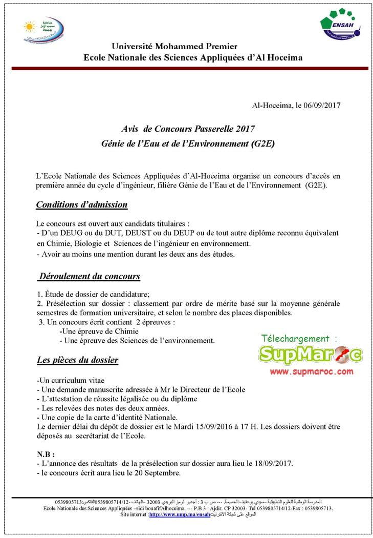 -Filière Génie de l'Eau et de l'Environnement (G2E)