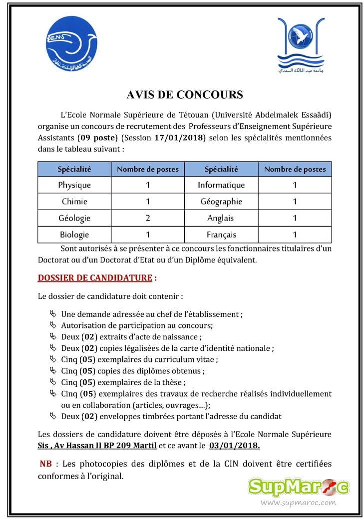 ENS Tétouan Concours recrutement 09 Professeurs d'Enseignement Supérieure Assistants 2017