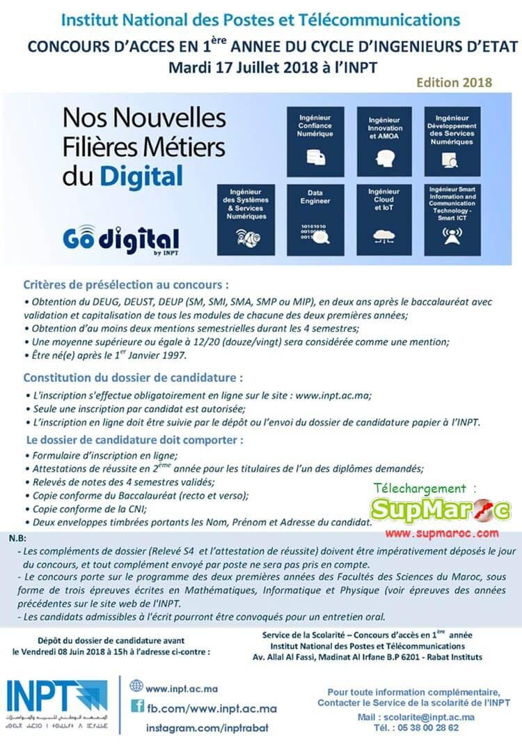 Concours INPT Rabat 1ère ingenieur Institut National Postes Télécommunication 2018