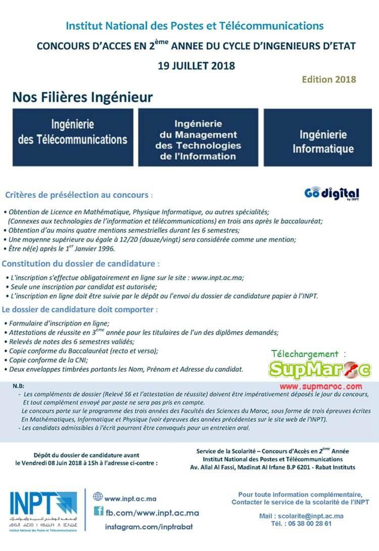 Concours INPT accès en 2ème Annee 2018-2019