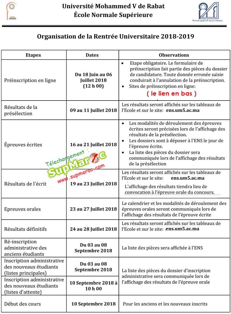 Préselection ENS Rabat
