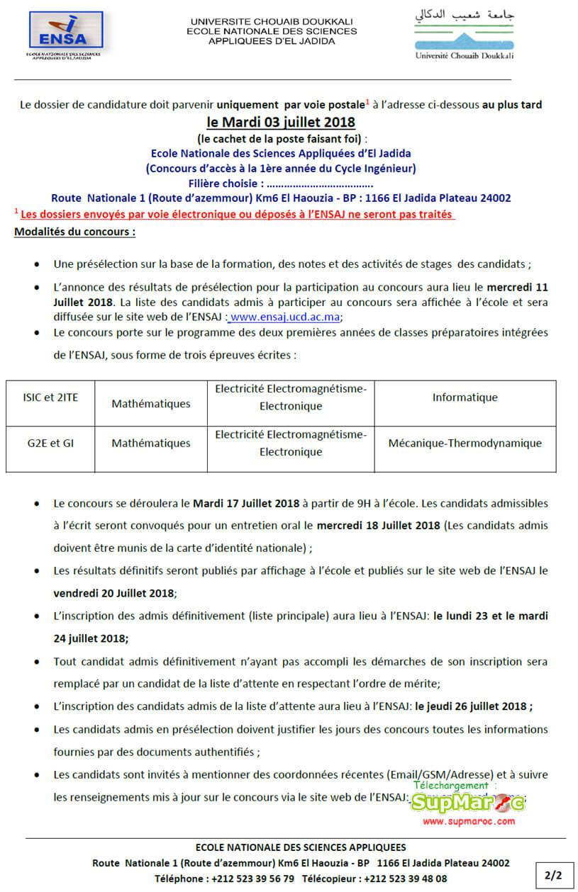 ENSA El jadida Concours d'accès 1ere année Cycle Ingénieur 2018-2019
