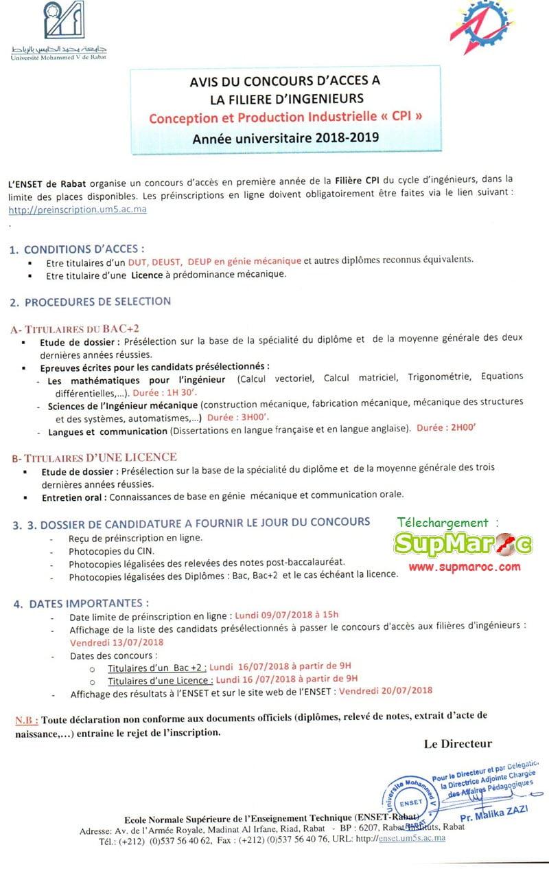 MODALITES D'ADMISSION FILIERE INGENIEUR : Conception et Production Industrielles