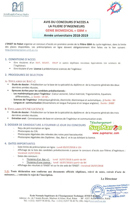 MODALITES D'ADMISSION FILIERE INGENIEUR : Génie Biomédical
