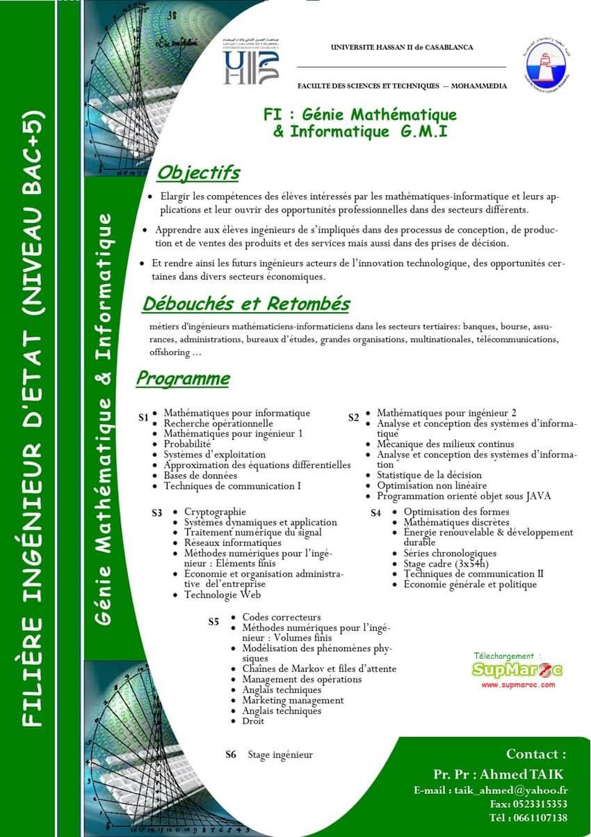 Filière Ingénieur: Génie Mathématiques et Informatique (GMI)