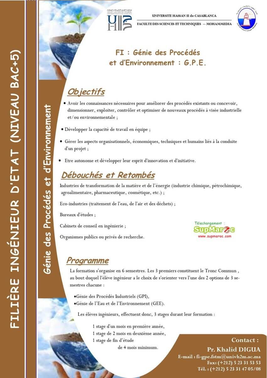 Génie des Procédés et d'Environnement (GPE)