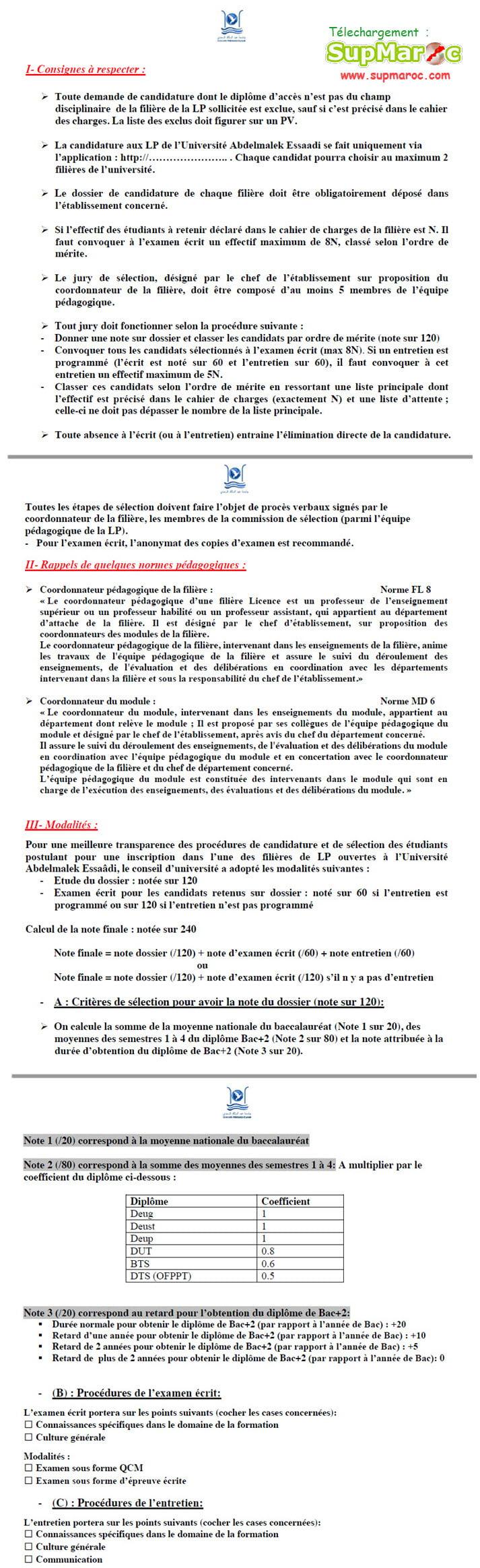 LP Consignes à respecterCritères de Selection et concours