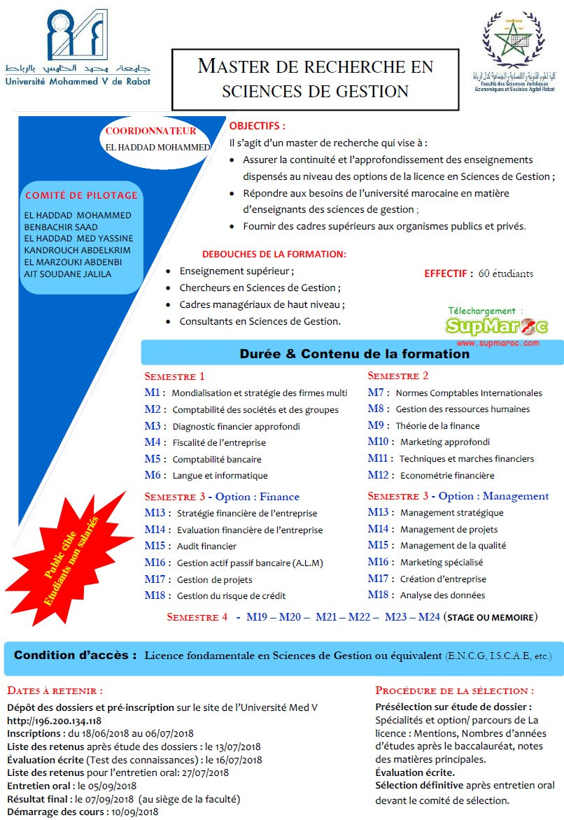 fsjes agdal master sciences de gestion 2018