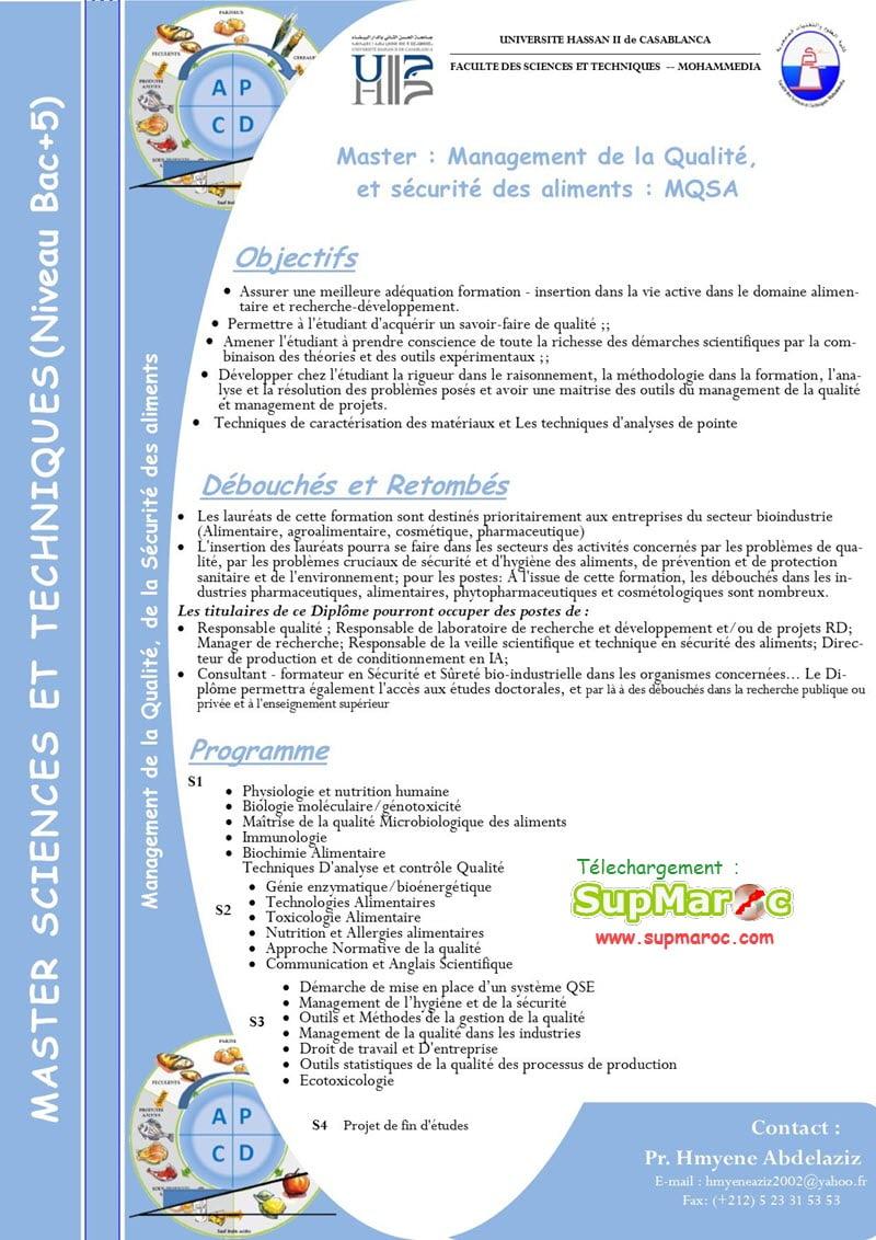 """Management de la Qualité et Sécurité des Aliments (MQSA)"""""""
