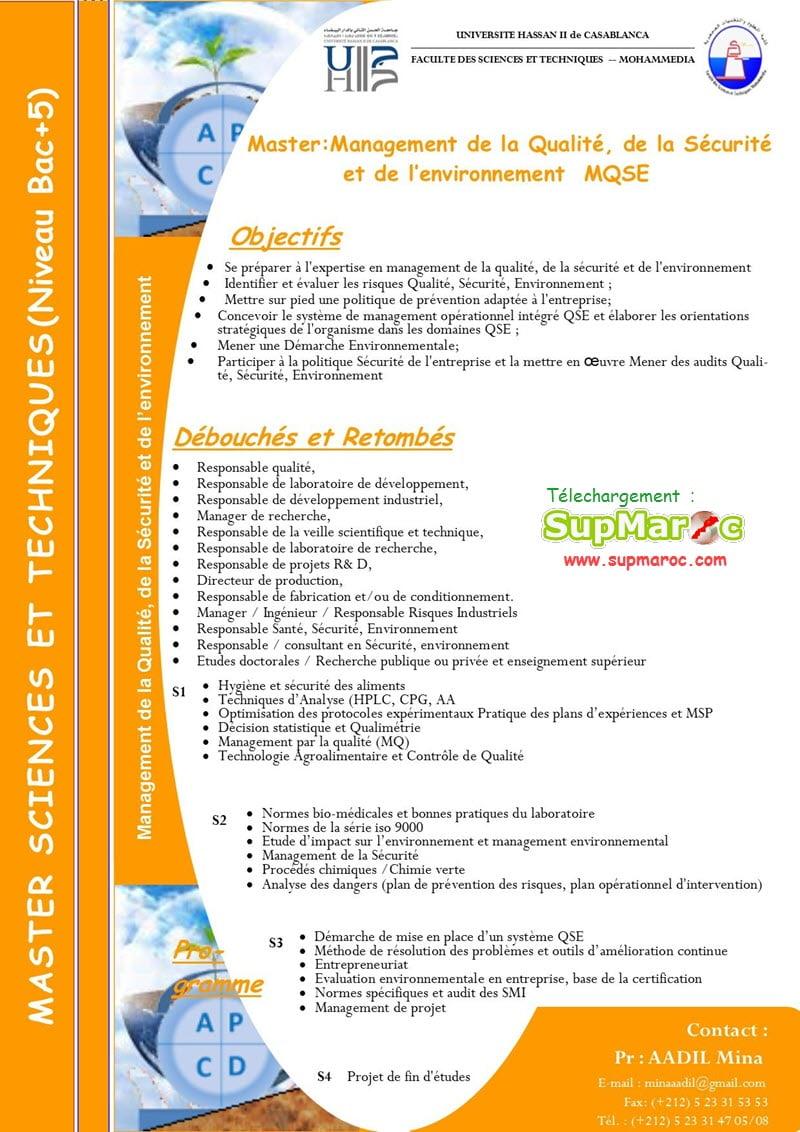 Management de la Qualité, de la Sécurité et de l'Environnement (MQSE)