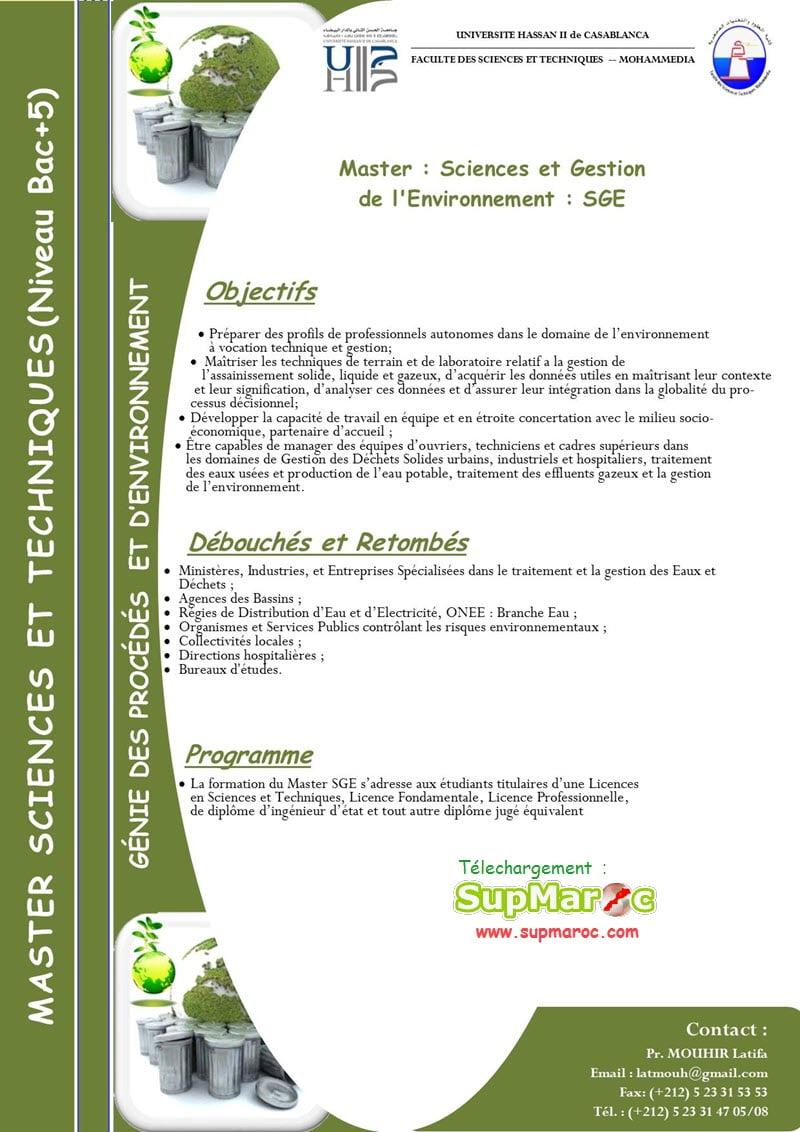 Sciences et Gestion de l'Environnement (SGE)