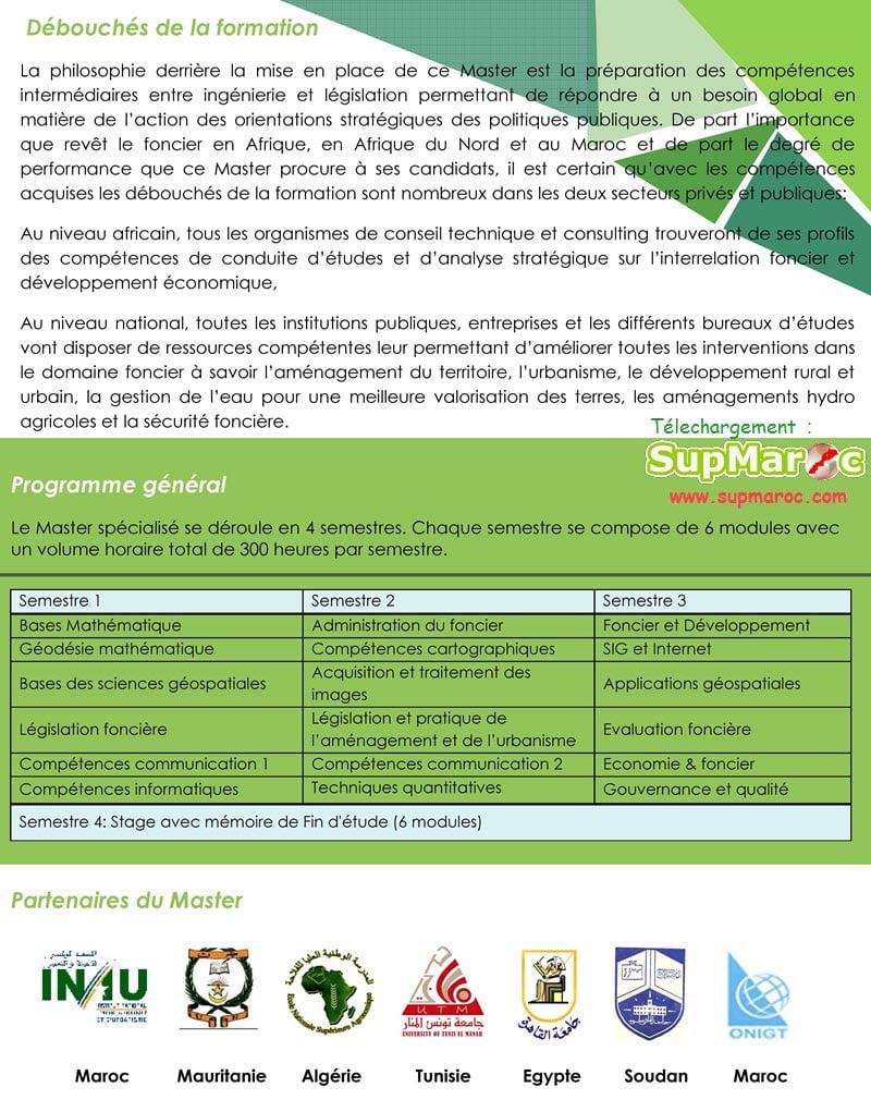 Master spécialisé en Sciences Géospatiales et Gouvernance Foncière SGGF - IAV Rabat