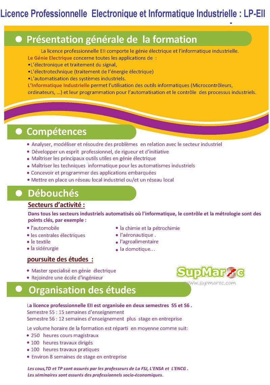 Faculté des Sciences El Jadida concours licence professionnelle  Electronique et Informatique Industrielle(LP-EII) 2018