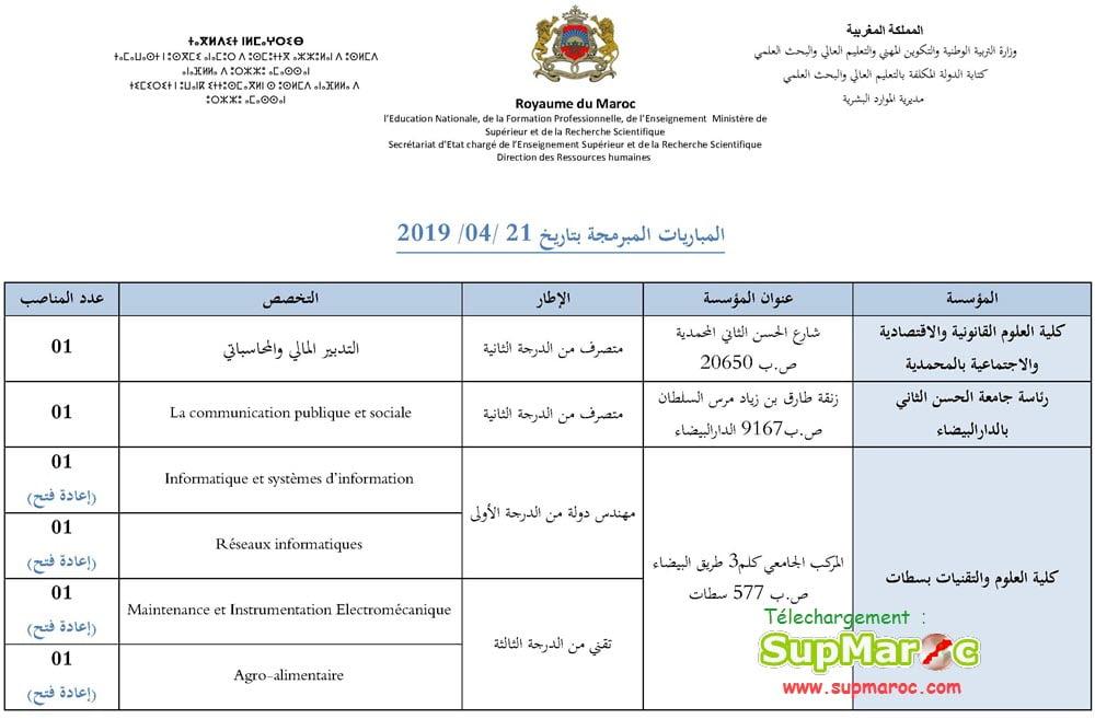 Enseignement supérieur Concours Recrutement cadres administratifs Session 21-04-2019
