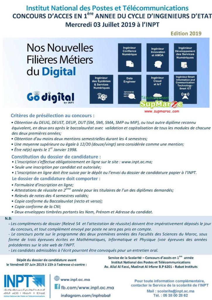 Concours INPT Rabat 1ère ingenieur Institut National Postes Télécommunication 2019