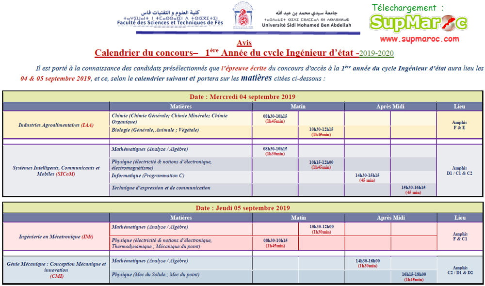 Calendrier Concours Cpge 2019.Concours Fst Fes 1ere Annee C Ingenieur 2019 2020 Supmaroc