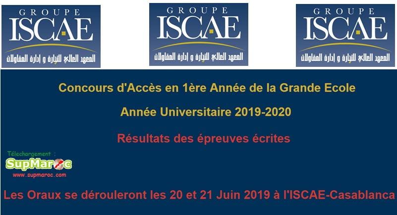 Résultats Ecrit et liste oral Concours ISCAE   Casa Rabat 2019-2020