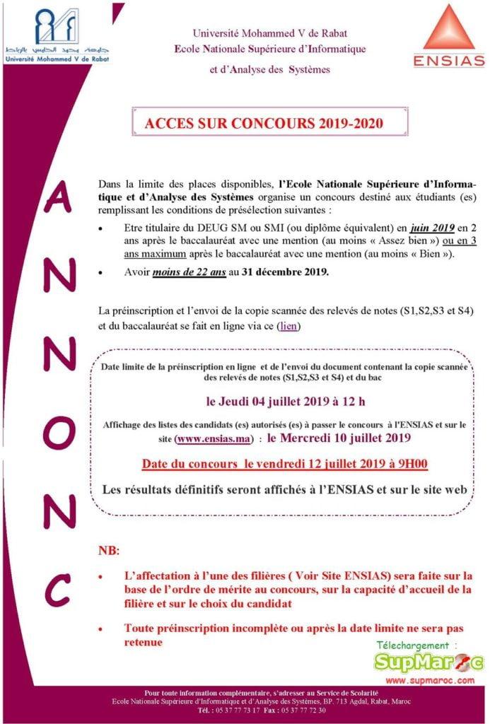 Concours sur Concours ENSIAS DEUG Rabat 2019 2020