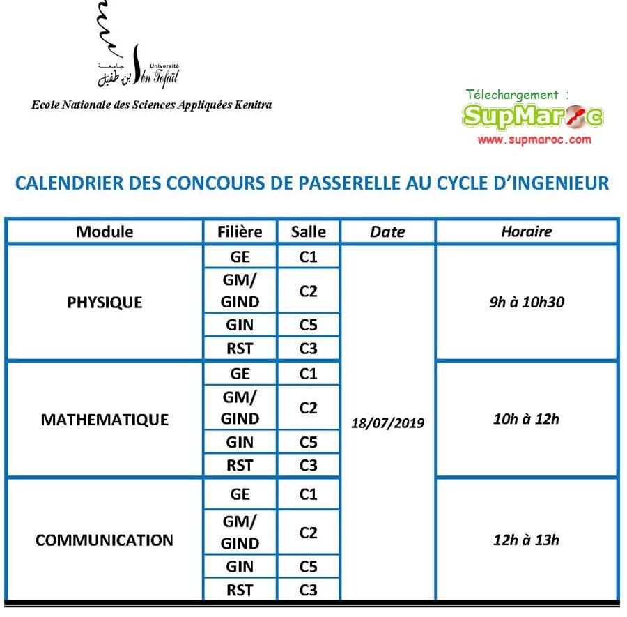 Calendrier Concours Cpge 2019.Preselection Ensa Kenitra 1ere Ingenieur 2019 Supmaroc
