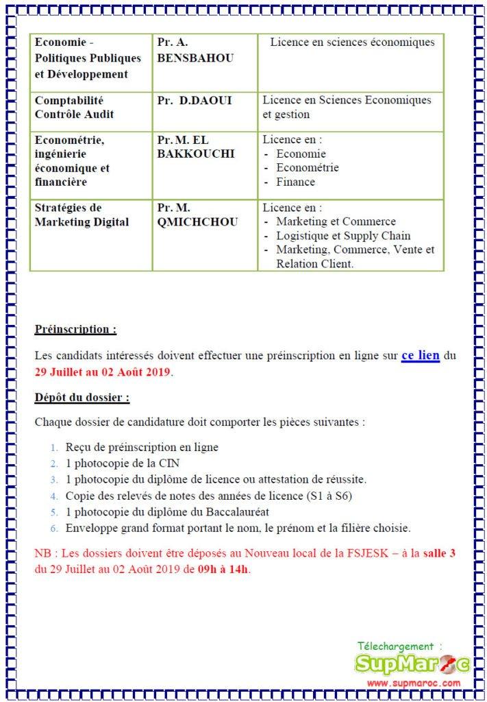 FSJES Kenitra Concours Master et Ms 2019-2020