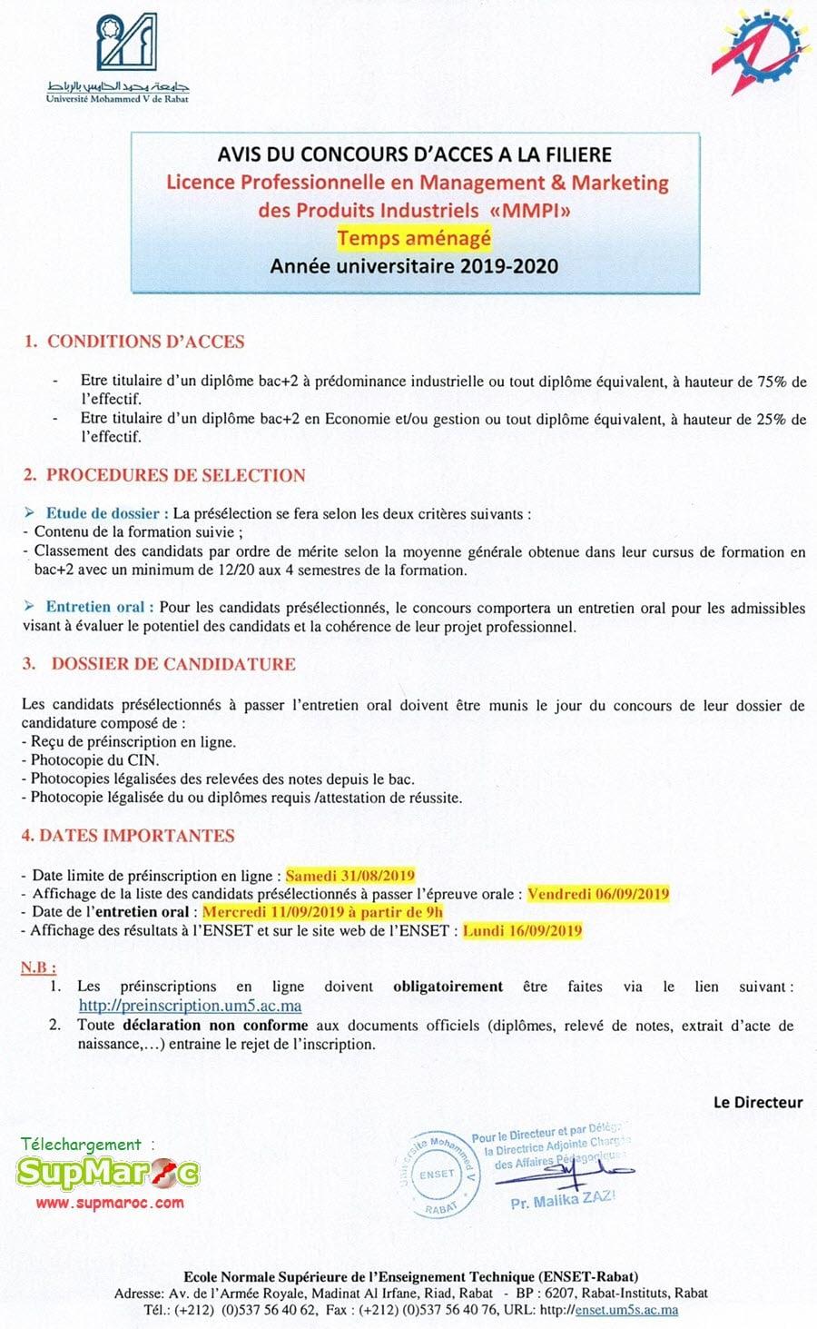 ENSET Rabat Licence Professionnelle MMPI Temps aménagé 2019-2020