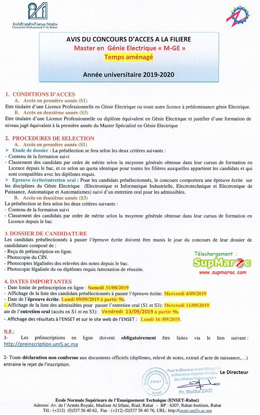 ENSET Rabat FILIERE Master GE, SEEE Temps aménagé 2019-2020
