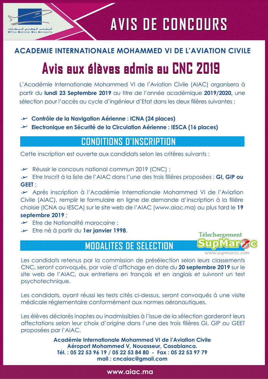 Concours Académie AIAC Casa ICNA et IESCA CNC 2019-2020