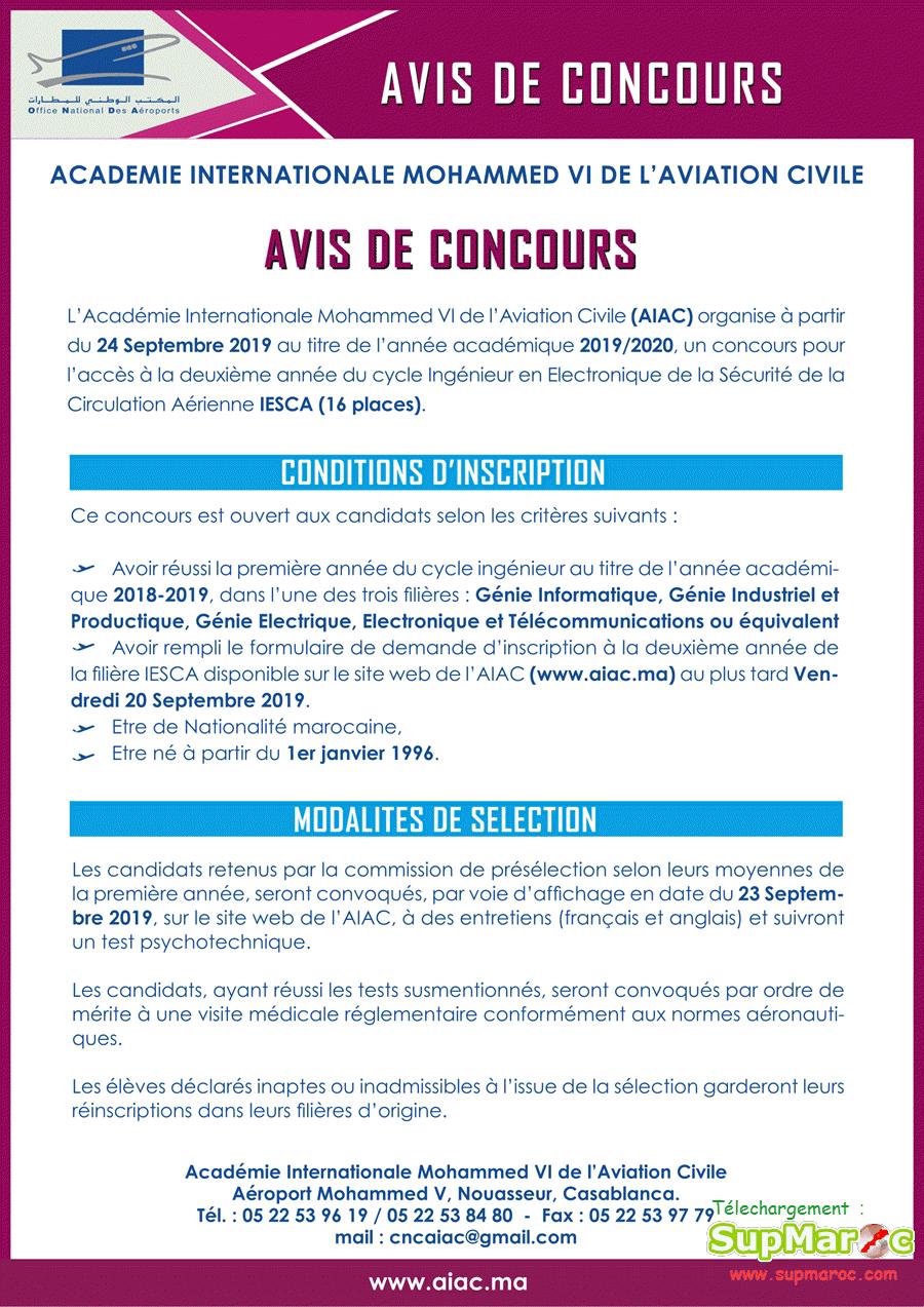 AIAC concours  2 année C. Ingénieur Electronique Sécurité Aérienne IESCA 2019-2020