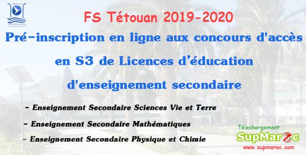 FS Tétouan Concours accès S3  Licence d'Education CLE 2019-2020