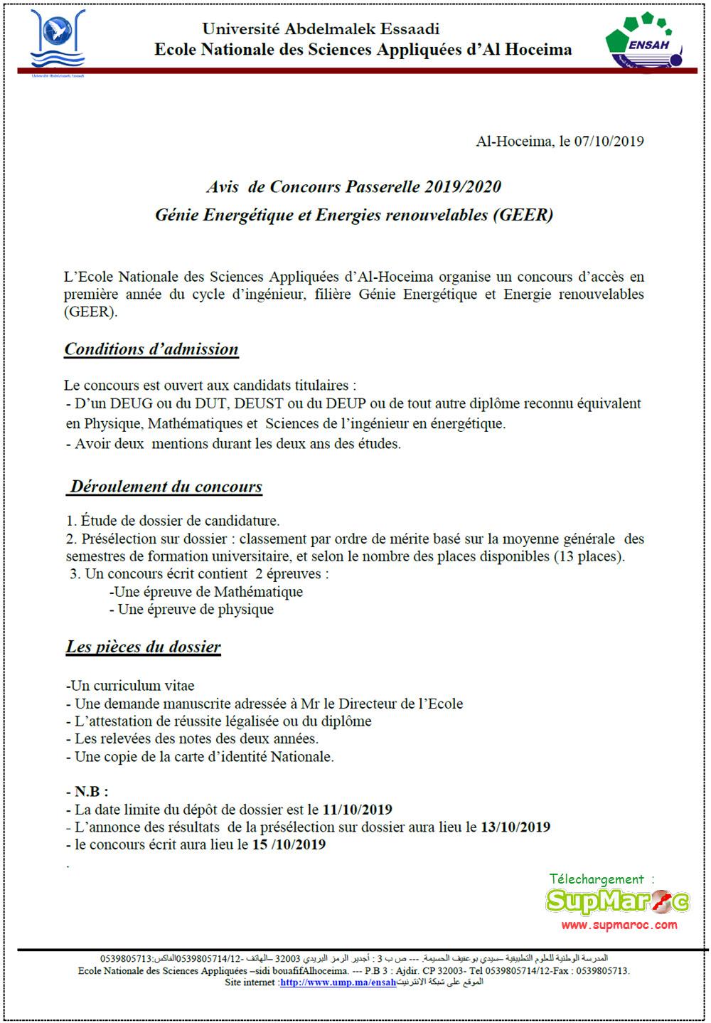ENSA Al Hoceima Concours Passerelle Accès en 1ere année C.Ingénieur 2019-2020