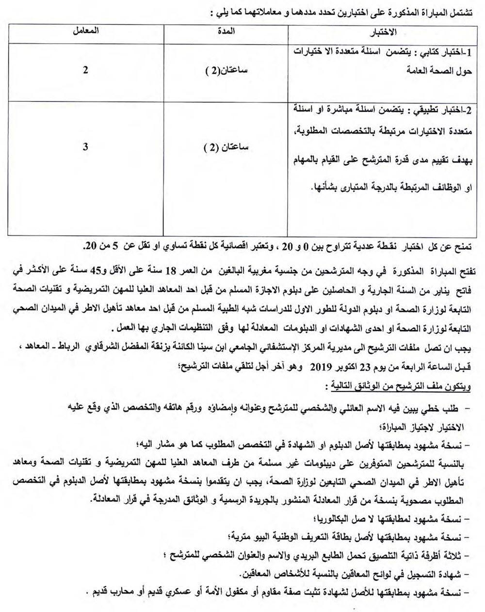 CHU Ibn Sina Rabat recrutement 219 IDE et 38 Techniciens 2019