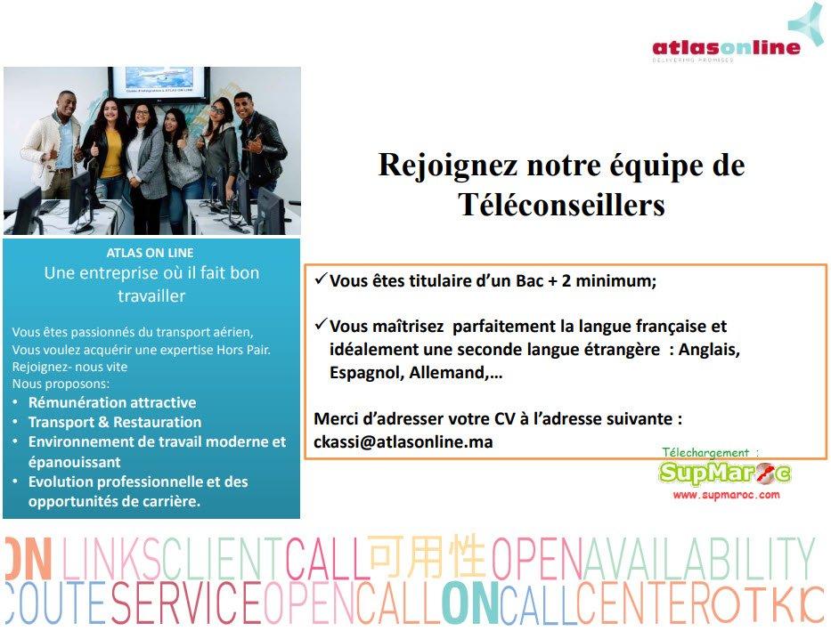 recrutement Concours 12 Téléconseillers Atlas On Line Maroc 2019