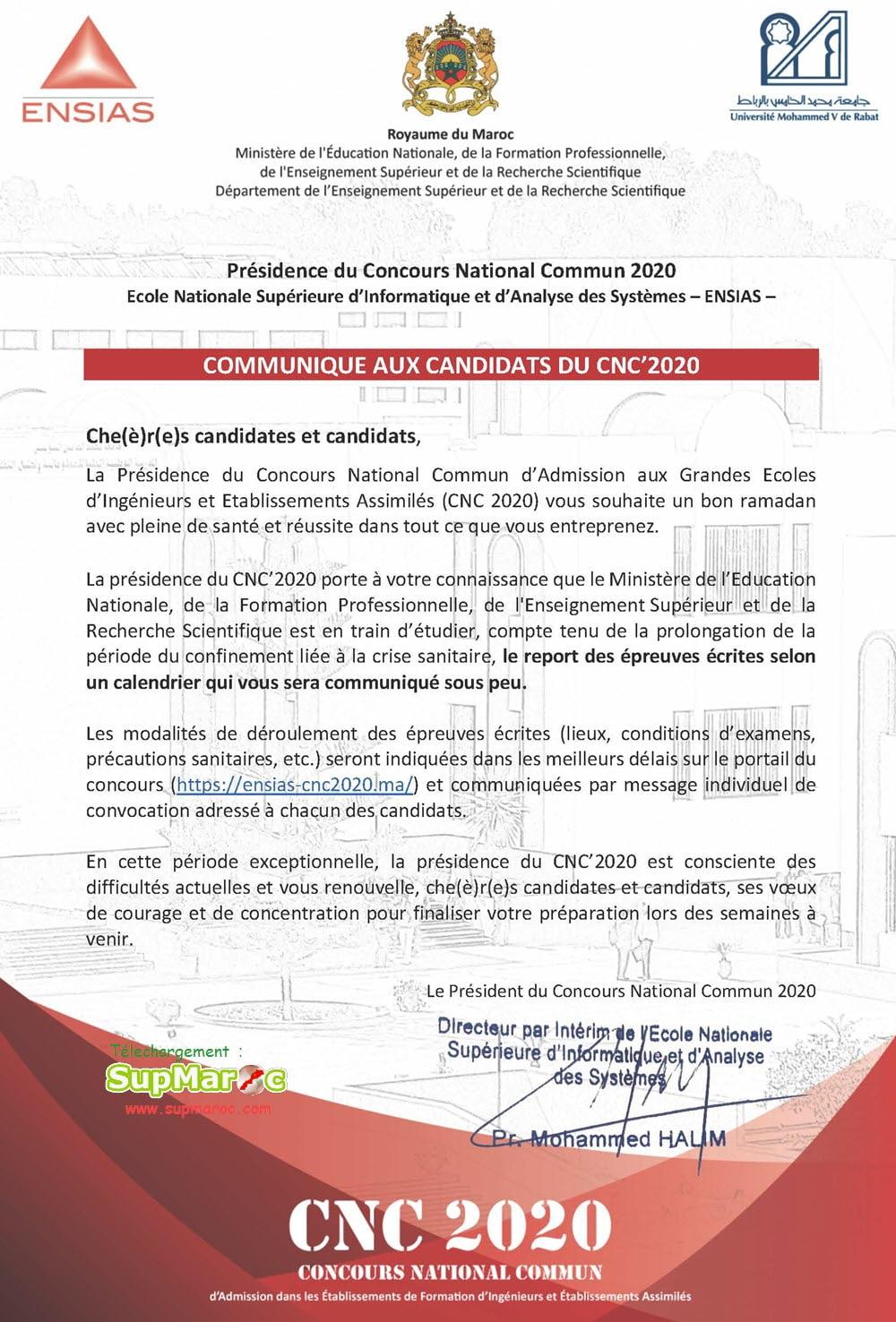 COMMUNIQUE AUX CANDIDATS DU CNC 2020