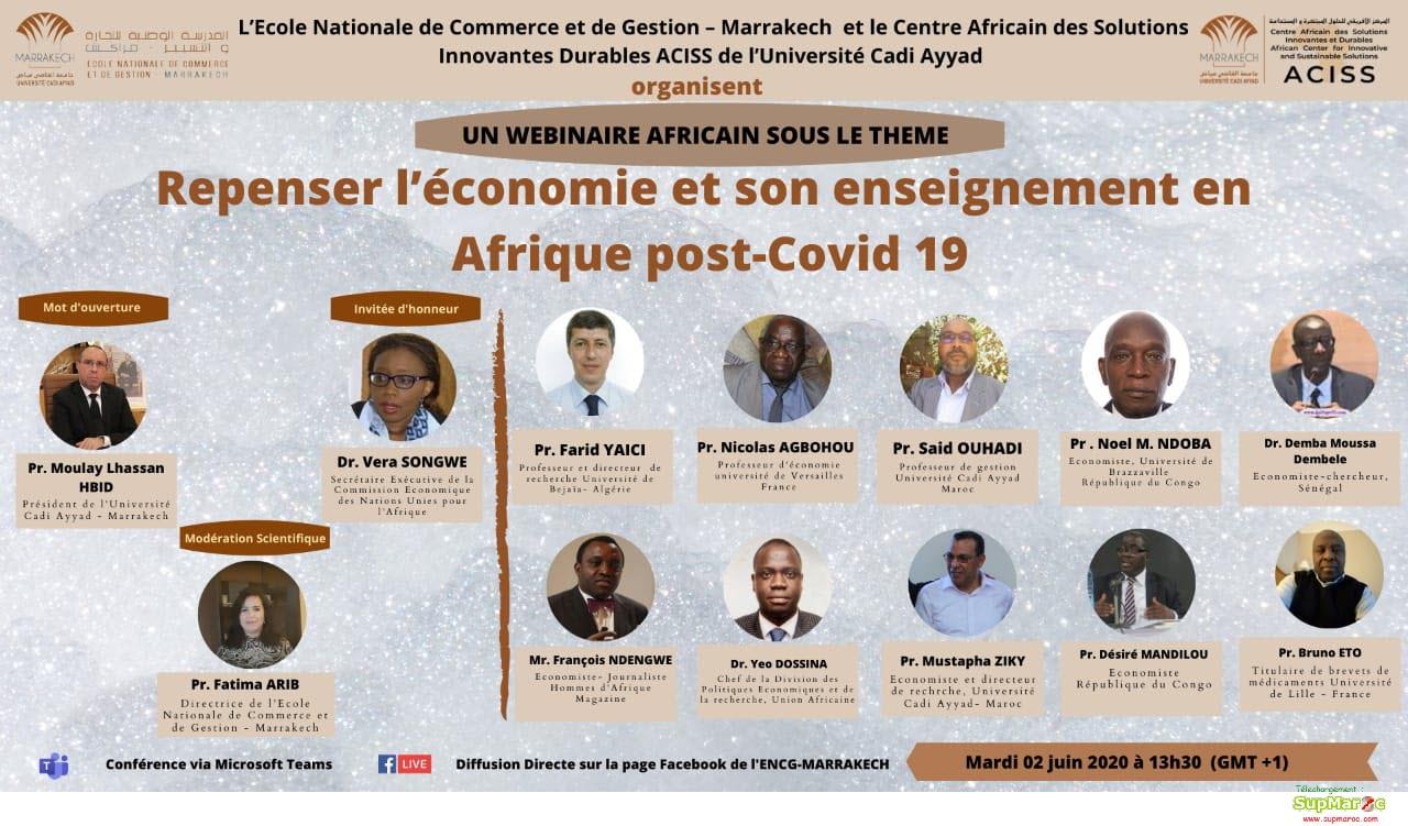 ENCG Marrakech WEBINAIRE AFRICAIN SOUS LE THEME Economie Post Covid 19