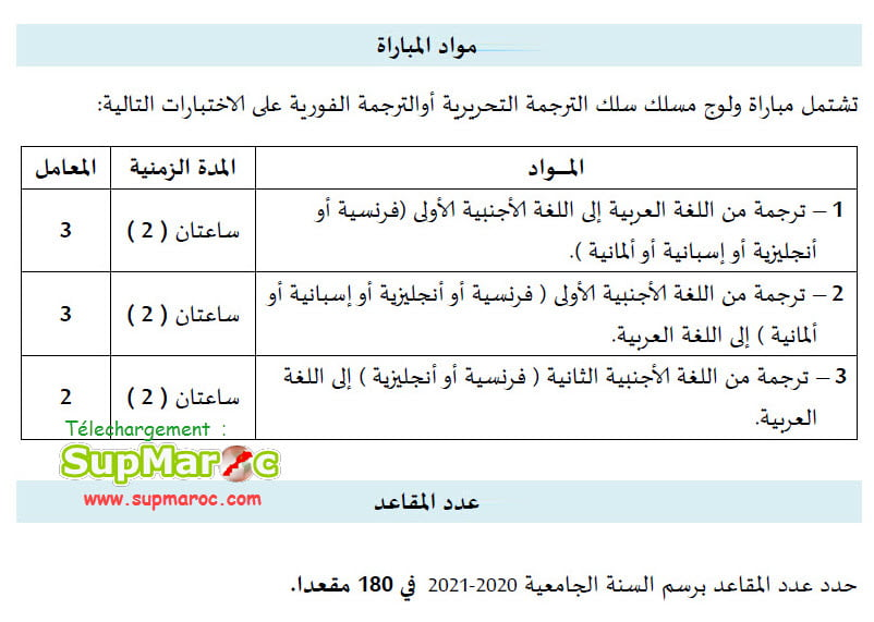 Concours ESRFT  Tanger Ecole Roi Fahd Traduction 2021 2022