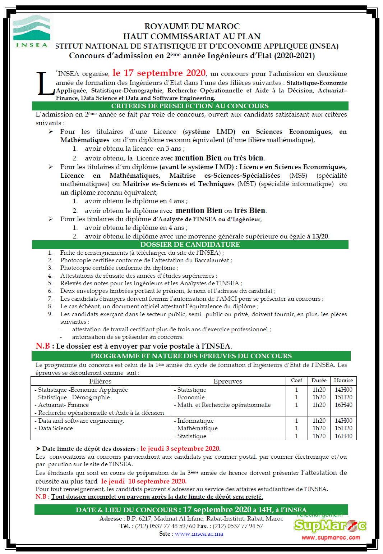 Concours 2eme cycle ingenieur INSEA  Rabat 2020 2021