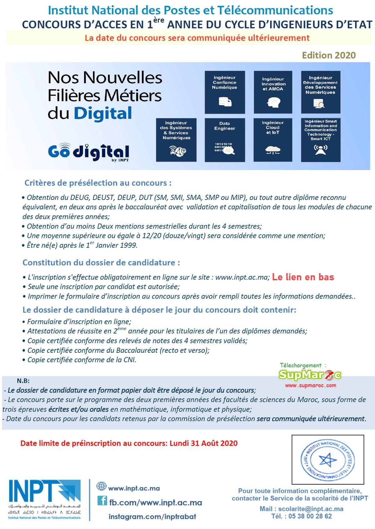 Concours  1ere année INPT  Rabat Institut Télécommunication 2020 2021