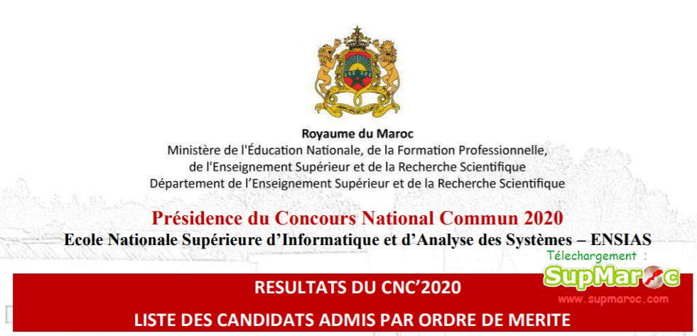 Résultats concours CNC Maroc 2020
