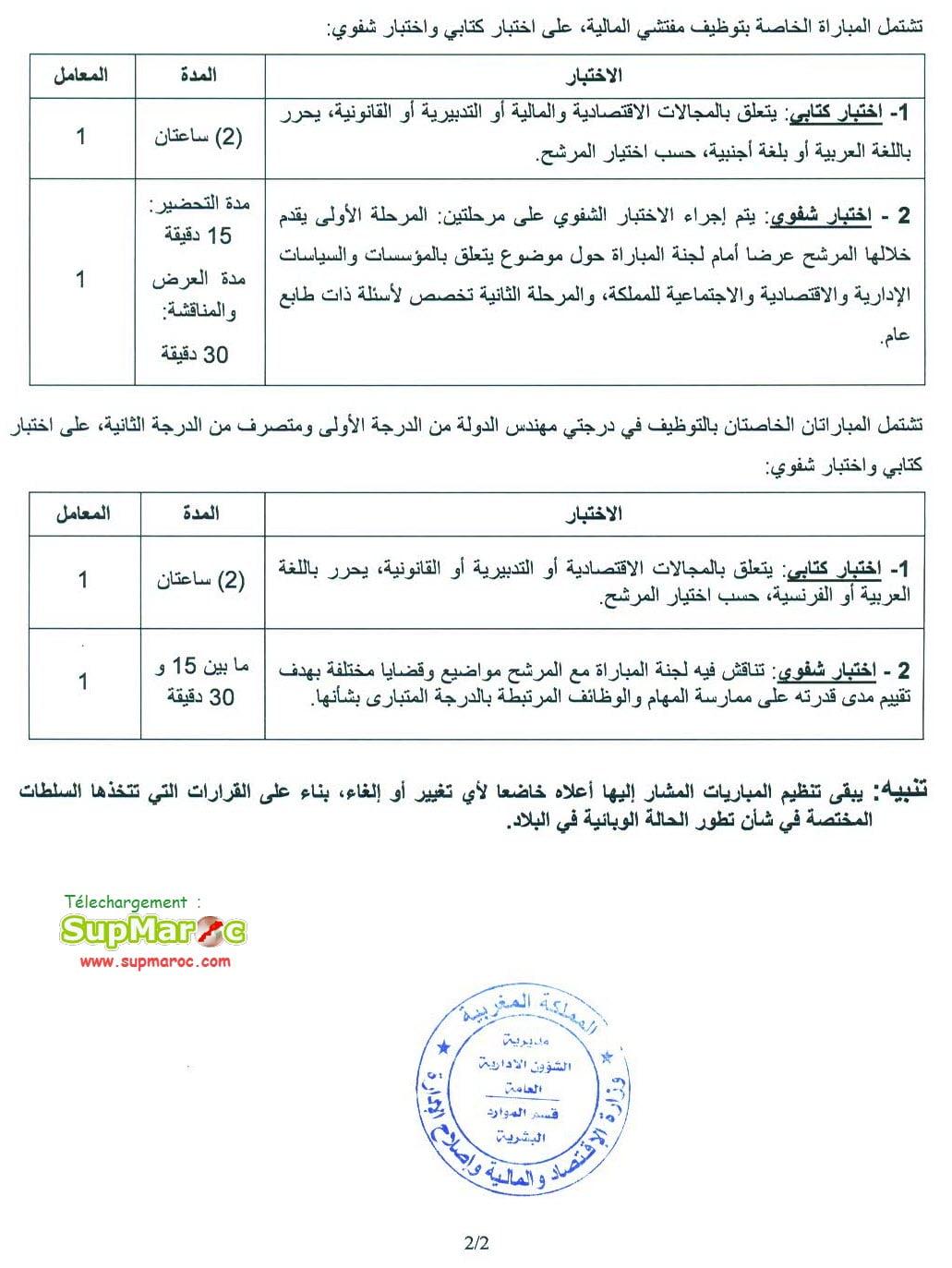 Concours Recrutements Finances 543 cadres 2020-2021