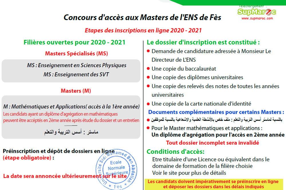 ENS FèsConcours Masters 2020 - 2021
