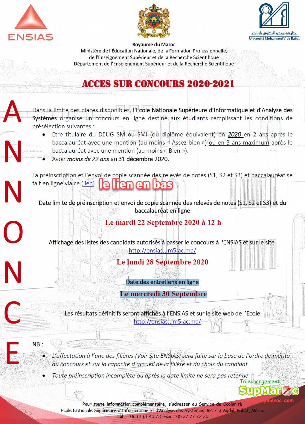 Concours sur Concours ENSIAS DEUG Rabat 2020 2021