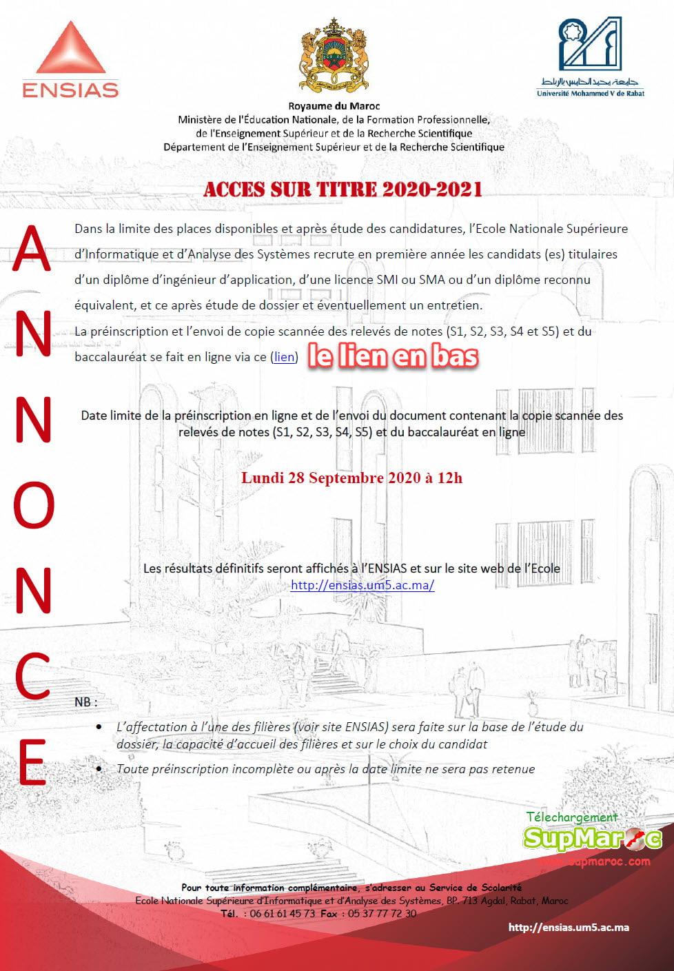 Concours ENSIAS Rabat Accès sur Titre licence 2020/2021