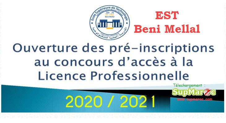 Concours Licence Professionnelle  LP EST BENI MELLAL 2020 - 2021