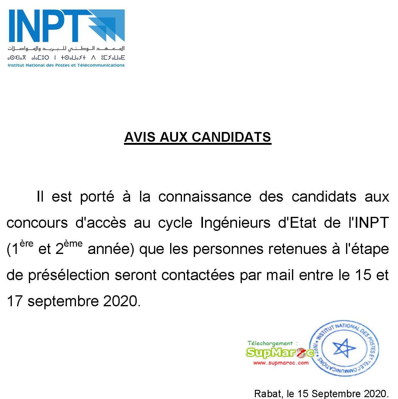 Préselection Concours  INPT 1ere et 2eme année 2020 2021