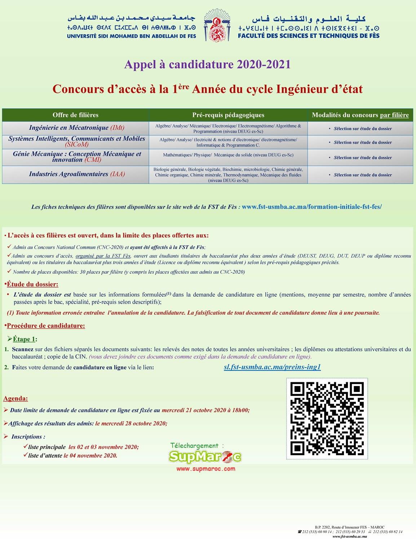 Concours FST Fes 1ere Année c. Ingénieur 2020 -2021