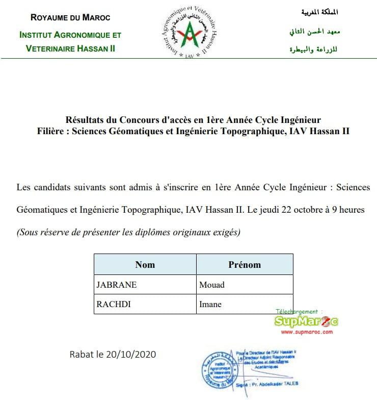 Résultats Concours IAV Rabat Ingénieur 2020 2021