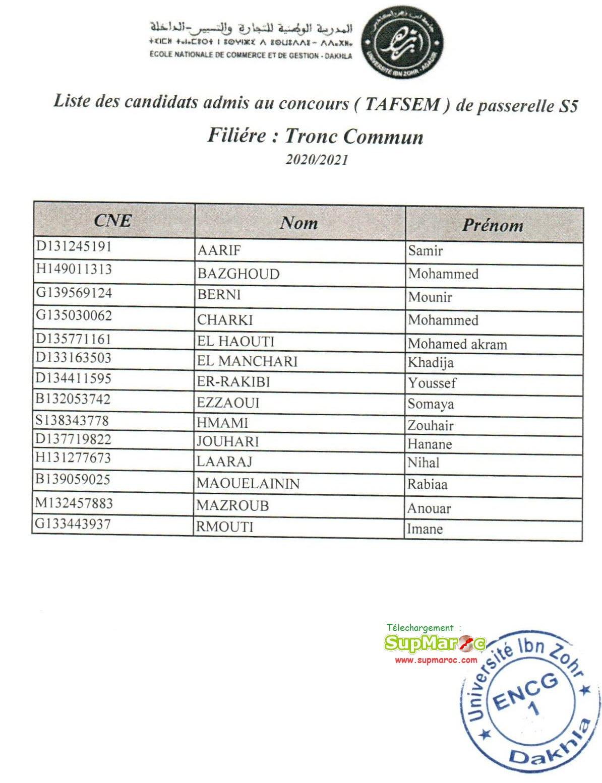 Résultats Concours ENCG Dakhla S5 et S7 2020 2021