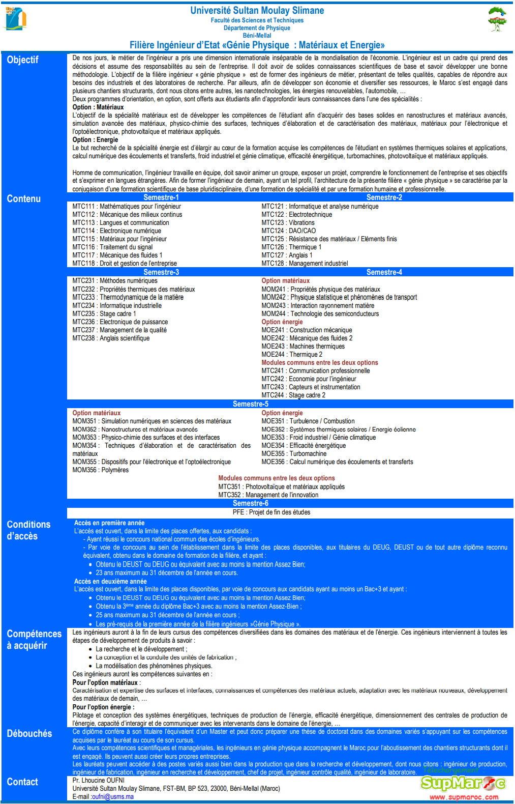 FST Béni Mellal 1èreC. Ingénieur  GPME 2020 2021